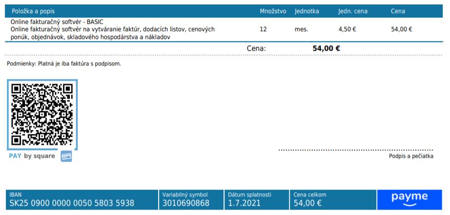 Služba Payme na faktúrach